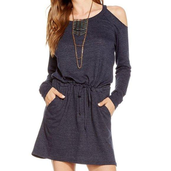 Chaser Dresses & Skirts - HI-LO Cold Shoulder Drawstring Tee Dress